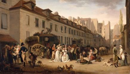 L'arrivée d'une diligence dans la cour des messageries (Boilly Louis Léopold) - Muzeo.com