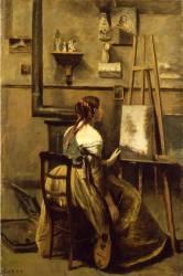 L'Atelier de Corot, jeune femme assise devant un chevalet (Jean-Baptiste Camille Corot) - Muzeo.com