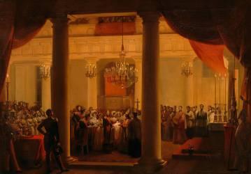Le Baptême de Robert d'Orléans duc de Chartres dans la chapelle des Tuileries, le 14 novembre 1840 (François-Marius Granet) - Muzeo.com