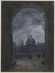 Le coupole de l'Institut, de nuit (Granet François-Marius) - Muzeo.com