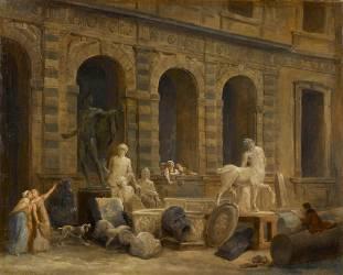 Le Dessinateur d'antiques devant la Petite galerie du Louvre (Robert Hubert) - Muzeo.com