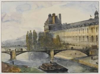 Le pavillon de Flore vu des fenêtres de l'Institut, le 1er janvier 1844 (Granet François-Marius) - Muzeo.com