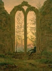 Le reveur ou les ruines d'Oybin en Allemange (Caspar David Friedrich) - Muzeo.com
