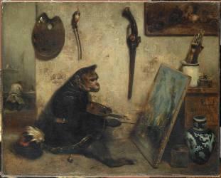 Le Singe peintre dit Intérieur d'atelier (Decamps Alexandre Gabriel) - Muzeo.com