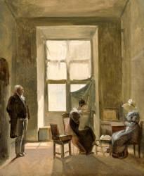 Léontine peignant dans l'atelier de Granet au Louvre (Granet François-Marius) - Muzeo.com