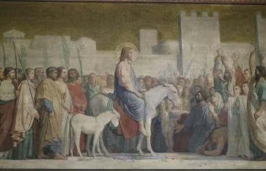 L'entrée à Jérusalem, peinture de la paroi de gauche du sanctuaire, église Saint-Germain-des-Prés (Flandrin Hippolyte) - Muzeo.com