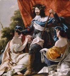 Louis XIII entre deux figures de femmes symbolisant La France et la Navarre (Vouet Simon) - Muzeo.com