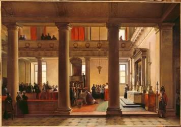 Louis-Philippe remet la barette de cardinal à l'archevêque de Bordeaux Jean-Louis Cheverus dans la chapelle des Tuileries, le 10 mars 1836 (Granet François-Marius) - Muzeo.com