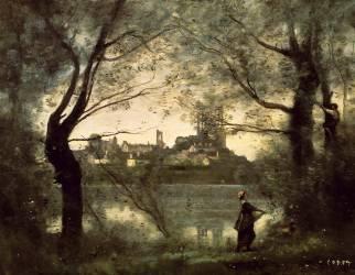 Mantes, la cathédrale et la ville vues à travers les arbres le soir (Jean-Baptiste Camille Corot) - Muzeo.com