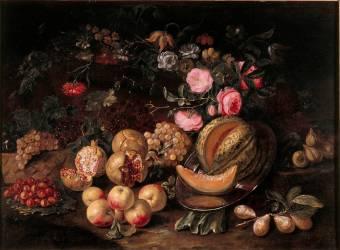 Nature morte aux fruits et fleurs (anonyme) - Muzeo.com