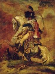 Officier de chasseurs à cheval de la garde impériale chargeant, esquisse (Théodore Géricault) - Muzeo.com