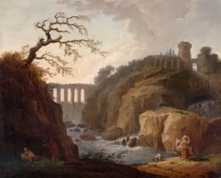 Paysage avec aqueduc et torrent, dit à tort Tivoli (Robert Hubert) - Muzeo.com