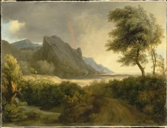 Paysage montagneux baigné par la mer ; L'arc en ciel (Pierre Henri de Valenciennes) - Muzeo.com