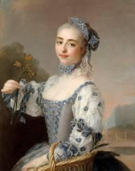 Portrait d'une danseuse ou d'une actrice tenant un bouquet de fleurs (anonyme) - Muzeo.com