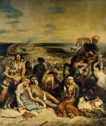 Scène des massacres de Scio : familles grecques attendant la mort ou l'esclavage (Eugène Delacroix) - Muzeo.com