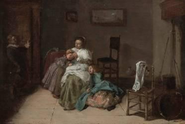 Scène familière. L'épouilleuse (Hals Dirck) - Muzeo.com