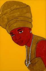 Portrait de femme au foulard doré (Babacar Lo) - Muzeo.com