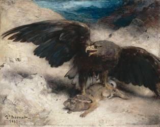 Aigle enfonçant ses serres dans le corps d'un lapin (Bonnat Léon Joseph Florentin) - Muzeo.com