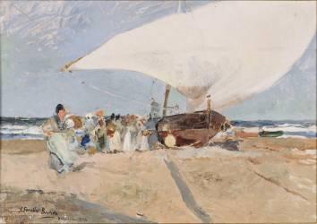 Barques et groupes de pêcheurs à Valence (Sorolla y Bastida Joaquin) - Muzeo.com