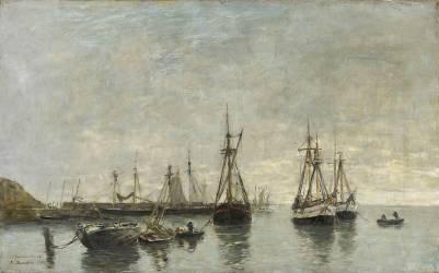 Bateaux au mouillage dans un port (Boudin Louis-Eugène) - Muzeo.com
