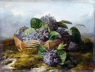 Bouquet de violettes dans un panier (Escallier Eléonore, née...) - Muzeo.com