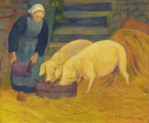 Bretonne donnant à manger aux cochons (Paul Serusier) - Muzeo.com