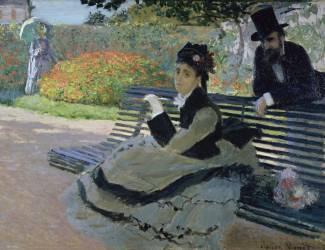 Camille monet on a garden bench (Claude Monet) - Muzeo.com