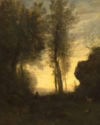 Chevrier assis jouant de la flûte dans une clairière (Corot Jean-Baptiste Camille) - Muzeo.com