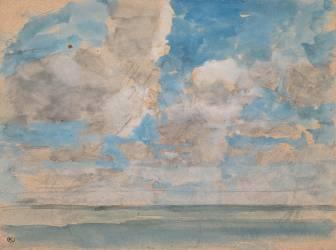 Ciel nuageux au-dessus d'une mer calme (Boudin Louis-Eugène) - Muzeo.com