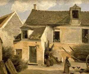 Cour d'une maison de paysans, aux environs de Paris. (Corot Jean-Baptiste Camille) - Muzeo.com