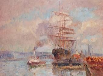 Dans le port de Rouen (Albert Lebourg) - Muzeo.com