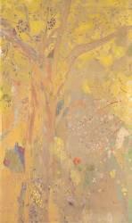 Décoration Domecy : arbres, fond jaune (Redon Odilon) - Muzeo.com