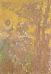 Décoration Domecy : arbres sur fond jaune (Redon Odilon) - Muzeo.com