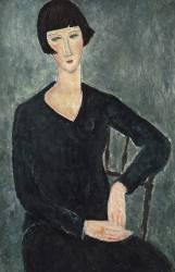 Femme assise avec veste bleue. (Amedeo Modigliani) - Muzeo.com