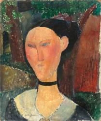 Femme au ruban de velours (Modigliani Amedeo) - Muzeo.com