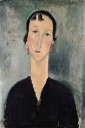 Femme aux boucles d'oreilles (Amedeo Modigliani) - Muzeo.com