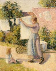 Femme étendant du linge (Pissarro Camille) - Muzeo.com