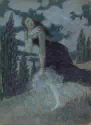 Femme effrayée dans un paysage (Grasset Eugène) - Muzeo.com