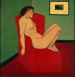 Femme nue assise dans un fauteuil rouge (Vallotton Félix) - Muzeo.com
