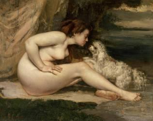 Femme nue au chien (Courbet Gustave) - Muzeo.com
