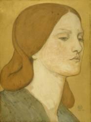 Head of a girl in a green dress (Rossetti Dante Gabriel) - Muzeo.com