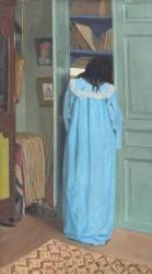 Intérieur, femme en bleu fouillant dans une armoire (Vallotton Félix) - Muzeo.com