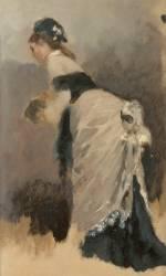 Jeune femme debout, de profil à l'écharpe et au manchon (Béraud Jean) - Muzeo.com