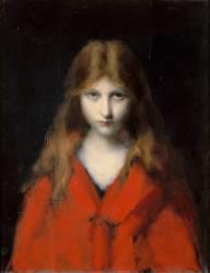 Jeune fille au corsage rouge, Mlle Dodey, modèle du peintre (Henner Jean Jacques) - Muzeo.com