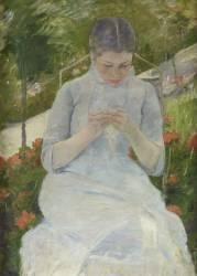 Jeune fille au jardin, dit aussi Femme cousant dans un jardin (Cassatt Mary) - Muzeo.com