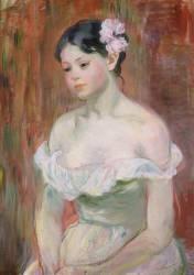 Jeune fille en décolleté - la fleur aux cheveux (Morisot Berthe) - Muzeo.com