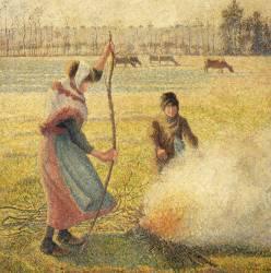 Jeune paysanne faisant du feu, gelée blanche, ou la brûle des champs (Pissarro Camille) - Muzeo.com