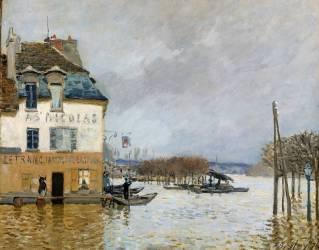 La barque pendant l'inondation à Port-Marly (Sisley Alfred) - Muzeo.com