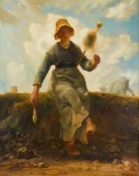 La Fileuse, chevrière auvergnate (Millet Jean-François) - Muzeo.com