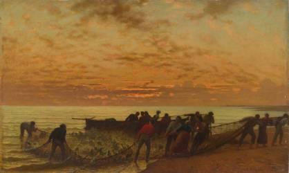 La Pêche au filet ou la pêche des daurades (Léon Belly) - Muzeo.com